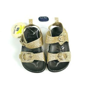 NWT Gold Glitter Sandals First Steps 5